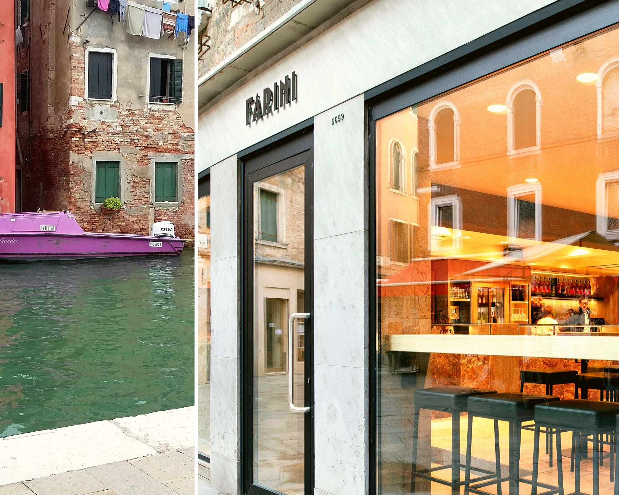 A splitted Trachyte Euganea stone for Farini bakery Venice